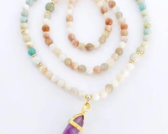 Moonstone Mala, Mala Beads, Meditation Beads, Moonstone Mala Necklace, Amazonite Mala Beads, Mala Necklace, Prayer Beads, MNMC