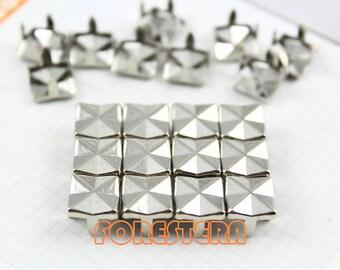 400Pcs 9.3mm Silver Square Studs Cross Metal Studs (SM09)