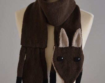 Knit Fox Scarf Kids and Adults Size Dark Brown Animal Scarf