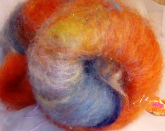Batt, spinning lining, merino silk with glitter (Angelina)