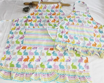 Ruffled Colorful Easter Bunnies Mother Daughter Aprons with chevron pockets and ruffle - made to order