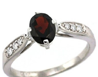 1.75 ct. Natural Red Wine color Garnet Hessonite Gemstone Engagement Ring~01