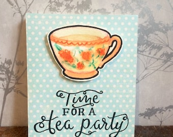 Tea party wooden wall hanging, teacup art, gift for her, watercolour painting, vintage teacup, wood sign, hand painted wall art, home decor.