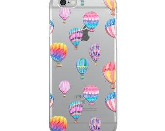 Hot Air Balloon Pattern Illustration Crystal iPhone Case