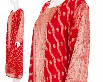 70s Red Silk Caftan Kaftan Maxi Dress Small Medium Large