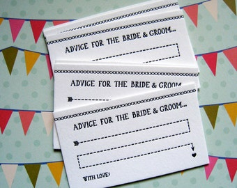 Letterpress Advice Cards - bride and groom (pack of 10)