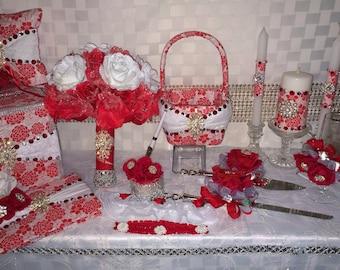 red & silver 17 pcs custom wedding decoration