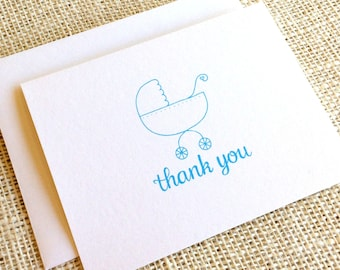 Set of 10 Baby Boy Thank You Cards - Thank You Notes for Baby Shower in Light Blue or Navy Blue - Cute Simple Baby Carriage Thank You Cards