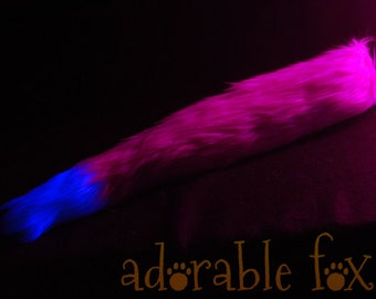 Faux Fur Fox Tail - Neon Pink - BLACKLIGHT REACTIVE - Cosplay / Furry / Costume