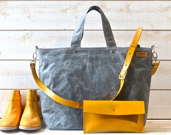 Diaper bag,Waxed canvas bag,Messenger bag,Gray tote bag,Tote bag,work bag,Gift for her,Gift for mom,gift for him