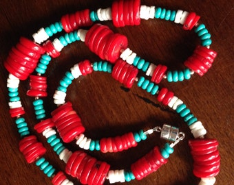 Coral,turquoise and shell necklace /bracelet
