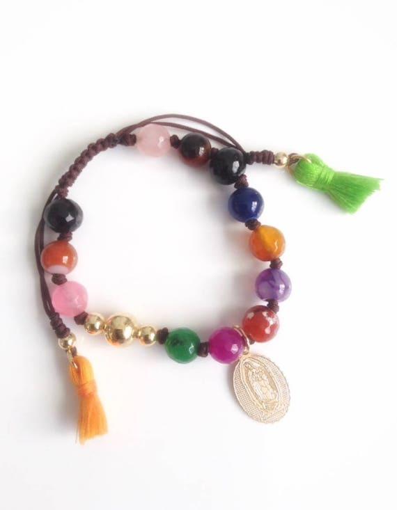 Lady of Guadalupe medal bracelet Gold filled beaded Bracelet