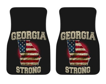 Georgia/Strong/American Flag/Car/Truck/SUV/Auto/RV/Floors Mats/Gifts/State Flag/Art/Home
