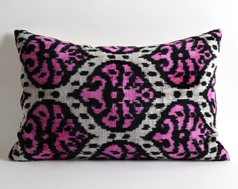 Organic Shine Neon Pink Black Cream ikat velvet pillow cover 16x26 hand dyed hand woven contemporary design pop of color hollywood regency