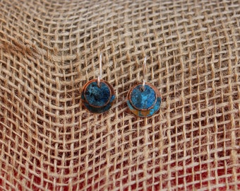 Petite Copper Earrings with Blue Patina (123117-011)
