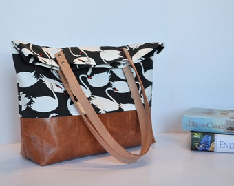 Swans on Black Canvas and Leather Tote Bag in Cognac Brown, Leather Handle Shoulder Bag, Blue Linning