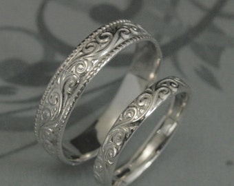 Solid 14K White Gold Flourish Wide Wedding Band Set--Swirl Patterned His and Hers Wedding Rings--Hand Made Wedding Bands in 14K White Gold