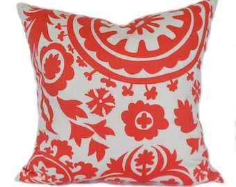 Pillow Covers ANY SIZE Decorative Pillow Cover Coral Pillow Salmon Pillow Premier Prints Suzani Coral