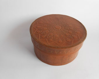 Vintage Embossed Genuine Leather Box Round Case Vintage Brown Handmade Tooled Jewellery Box  Leather gift box, Small Jewelry Box