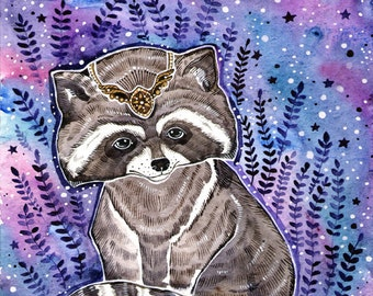 Raccoon Watercolor Painting Print Raccoon Wall Decor Nursery Print Raccoon Poster Art Animal Raccoon Print