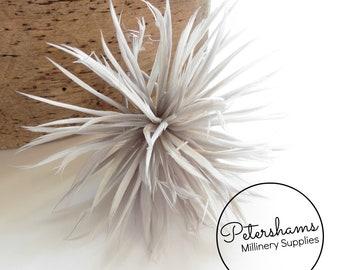 Goose Biot Feather Pom Hat Mount for Millinery, Fascinators & Hats - Grey
