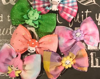 "2"" Fairies Welcome Mini Bows  - Mini Bows - Bows for Girls - Unicorn Bows - Dog Bows"