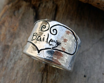 Sterling Silver Heart Ring, Personalized Heart Ring, Engraved Ring, Hammered Ring, Personalized Ring, Anniversary Ring