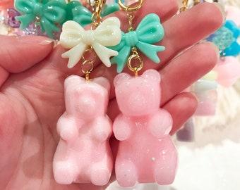Adorably Kawaii Pink XL Gummy Bear Key Chains