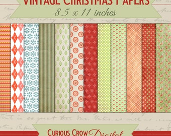 Vintage Christmas 8.5 x 11 Digital Paper Pack - Printable Download - Digital Scrapbook Paper