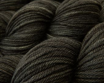 Hand Dyed Yarn, Worsted Weight Superwash Merino Wool - Slate Grey Tonal - Charcoal Gray Indie Dyed Knitting Yarn, Ready to Ship!