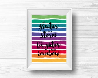Rainbow Wall Art -- Greater Your Storm, Brighter Your Rainbow, Rainbow Quote, Rainbow Stripes, Rainy Day, Printable, Instant Download