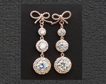 CZ Bridal Jewelry. Rose Gold Bridal Earrings 18002ERG. Twisted Ribbons CZ Earrings. Long dangle earrings. Wedding jewelry, Bridesmaid gift