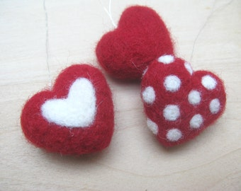 3 felted heart ornaments