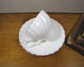 Ceroc - White Swirled Small Teacup and Saucer Set - Gold Accent - Made in Romania