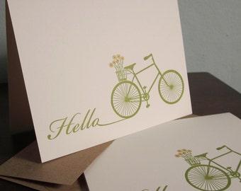 Hello Bike - 24-Pack Gocco Letterpress Printed Card