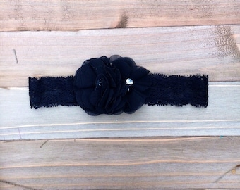 Black Pearl & Rhinestone Lace Flower girl Flowergirl Bridesmaid accessory Baby Girl Headband Photo Prop
