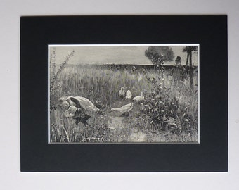 1881 Antique Print Of A Girl Sleeping In An English Country Field - British Countryside - Serenity - Sleep - Victorian Print - Antique Art
