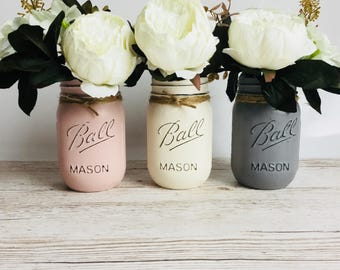 Set of 3 painted mason jars, 500ml. Mason Ball Jars. Great for decoration in your home, a table centrepiece or as a gift.