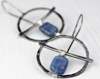 Hammered Silver Hoops with Kyanite, Threader Hoop Earrings, Blue Kyanite, Circlular Hoops with Crossbar