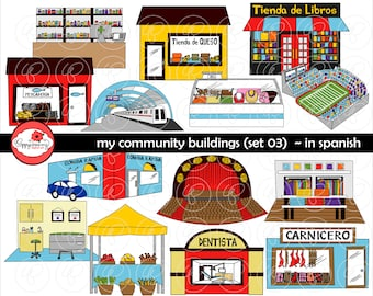 My Community Buildings (Set 03) in SPANISH Clipart: (300 dpi transparent png) School Teacher Clip Art Creative Writing Subway Theater