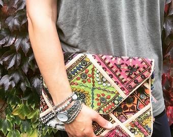 Indian Banjara Clutch Bag - tribal bag, boho bag, oak, gypsy bag, vintage bag, fabric clutch, banjara bag, Indian bag, boho accessories