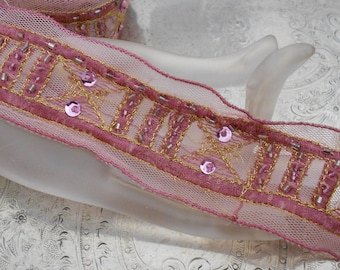 Pink and Gold Stitched Sequined Trim