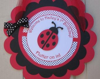 Ladybug Birthday Party - Door Sign
