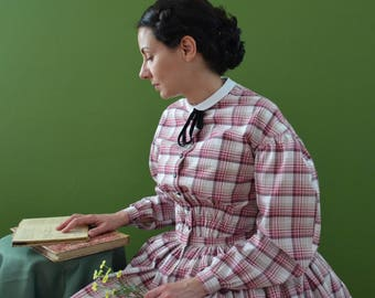Victorian dress by day. Cotton dress in diamonds. Broad skirt. Crinoline. 1850.1845. 19th century dress. Wide Skirt Dress