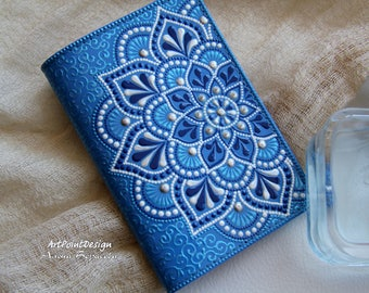 READY TO SHIP / Passport cover, leather passport holder, leather case, Blue, Mandalas Art
