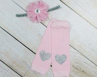 Newborn Leg Warmers, Baby Headband, Silver Pink, Glitter Silver Heart, Silver Pink Leg Warmers, Pink Silver Baby Girl, Baby Leg Warmers