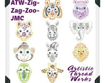 ATW-Zig-Zag-Zoo 5x7 ( 10 Machine Embroidery Designs from ATW ) XYZ17B