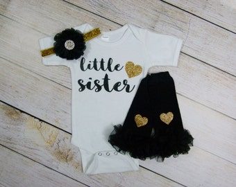 Little Sister Baby Girl Outfit Girl Black Gold With Headband Gold Heart Leg Warmers Options Baby Sister Gift