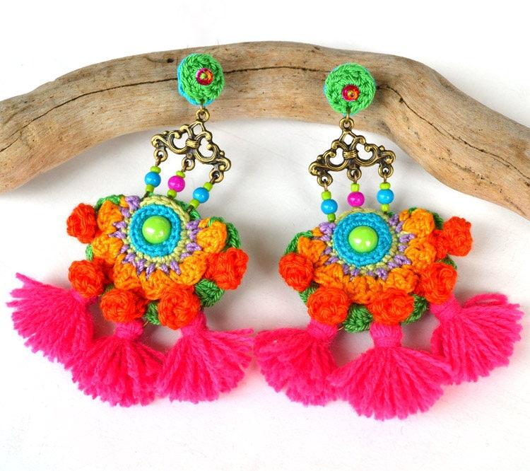 mexikanische Ohrringe quastenohrringe Rosa quastenohrringe