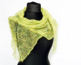 Spring accessories - apple green scarf - womens scarflette - mohair shawl scarf - knitted bandana - delicate scarf - sheer shawlette - stola
